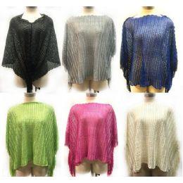 12 of Solid Color Knit Poncho With Shoulder Fringe