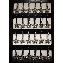 96 Units of Flower Shaped Rhinestone Dangling Earring - Earrings