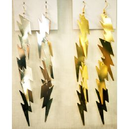 96 Units of Gold And Silver Colored Lighting Bolt Shaped Earring - Earrings
