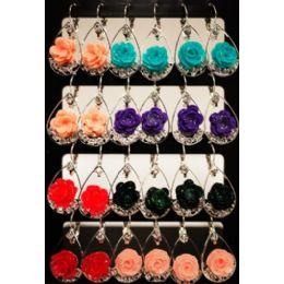 96 Units of Flower Shaped Dangling Earrings Assorted Color - Earrings