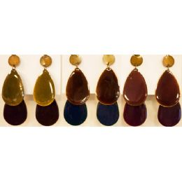 96 Units of Tear Drop Shaped Dangling Earring Assorted Colors - Earrings