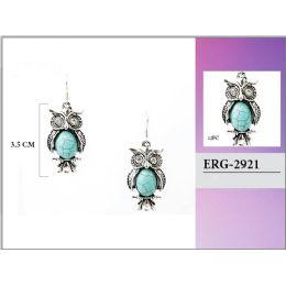 96 Units of Turquoise Color Owl Earring - Earrings