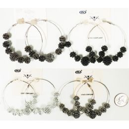 96 Units of Big Loop Earring With Beads Assorted Colors - Earrings