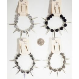 96 Units of Spike Earring Bracelet Set Assorted Colors - Earrings