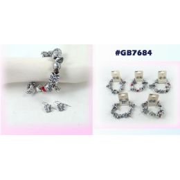 96 Units of Bracelet Earring Set With Butterfly Flower Leaf - Earrings