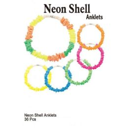 72 Units of Neon Shell Anklets - Ankle Bracelets