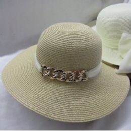 12 Wholesale Ladies Sun Hat With Chain And Ribbon