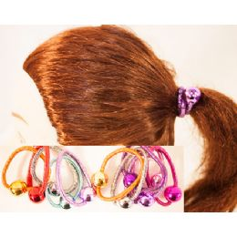 96 Units of Metalic Ball Pony Tail Holder Hair Ties - PonyTail Holders