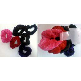 108 Units of Velvet Hair Ties Pony Holder 6pcs/cartd Ast Colors - PonyTail Holders