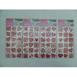 72 Units of Heart Printed Stickers - Tattoos and Stickers