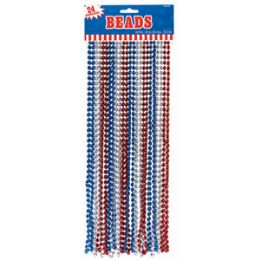 60 Units of 33 Inch 7mm Metallic Bead Necklaces - Red Silver Blue 12ct - LED Party Supplies