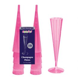 12 Units of Neon Pink 5oz Champagne Flutes - 10ct - LED Party Supplies