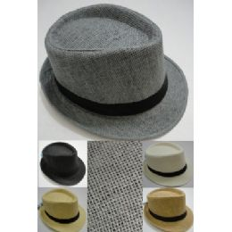 48 Units of Fedora Hat-Woven With Black Hat Band - Fedoras, Driver Caps & Visor