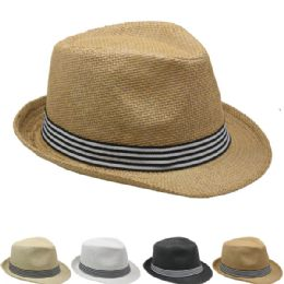 36 Units of Straw Fedora Hat With Stripe Band In Assorted Colors - Fedoras, Driver Caps & Visor