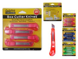 96 Units of 4 Piece Knife Utility Set - Box Cutters and Blades