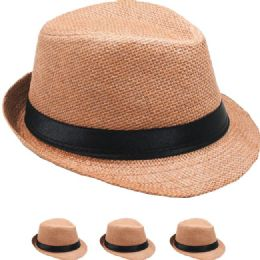 24 Units of Brown Paper Straw Black Banded Kid Trilby Fedora - Fedoras, Driver Caps & Visor