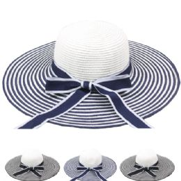 24 Units of Women's Striped Summer Hat With Bow Assorted - Sun Hats