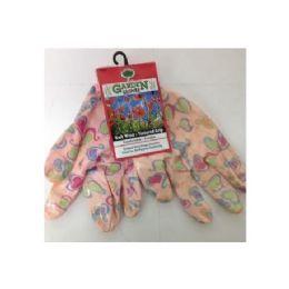 72 Units of Printed Pattern Garden Gloves With Latex Grip - Gardening Gloves
