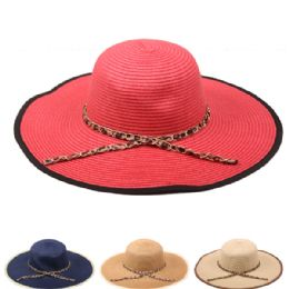 24 Wholesale Plain Womans Summer Hat With Bound Edge And Ribbon