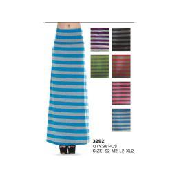 96 Units of Cotton Maxi Skirt Striped - Womens Skirts