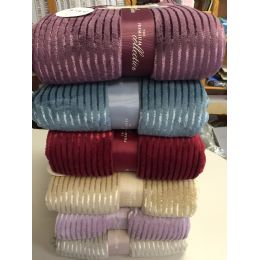 12 Units of The Collection 100% Polyester Blankets Assorted Color - Blankets & Bedding