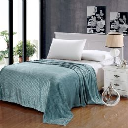 12 Units of The Collection 100% Polyester Full Size Blankets Aqua - Blankets & Bedding