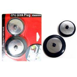 96 Units of 2pc Black Sink Stopper Plugs - Plumbing Supplies