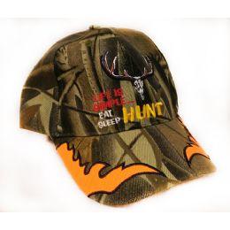 24 Units of Adjustable Baseball Hat Eat Sleep Hunt Camo Assorted - Hunting Caps