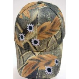 24 Units of Camo Ball Cap/ Adjustable Baseball Hat *bullet Holes - Hunting Caps