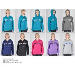 48 of Womens Fashion Hoodie Sweater New York Assorted Colors And Sizes