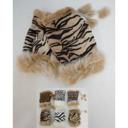48 of Women's Animal Print Suede With Fur Fingerless Gloves