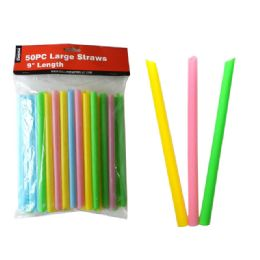 """24 Units of Straws Large 50pc 0.4"""" D X9"""" H - Straws and Stirrers"""