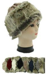 72 Bulk Woman's Assorted Color Faux Fur Line Winter Hat