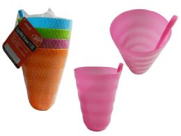 48 Units of Plastic Tumbler With Straw 4 Piece Assorted - Plastic Drinkware