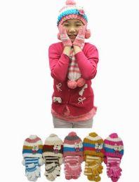 24 Units of Girls Winter Warm 3 Piece Hat Set Striped Bunny Pattern - Winter Sets Scarves , Hats & Gloves