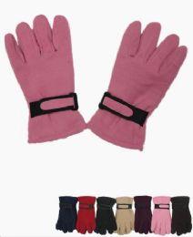 72 Units of Woman's Fleece Winter Gloves Assorted Colors - Fleece Gloves