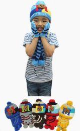 24 Units of Boys Winter Warm 3 Piece Hat Sat Teddy Bear Pattern - Winter Sets Scarves , Hats & Gloves