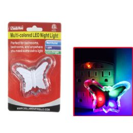 96 Units of Multi Colored Led Butterfly Night Light Wall Outlet - Night Lights
