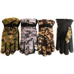 12 Bulk Winter Camo Ski Glove With Inside Lining And AntI-Slip Grip
