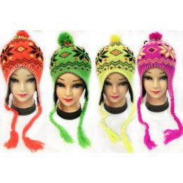 36 Bulk Neon Knit Winter Hats Pompom Hats With Ear Flaps