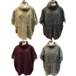 12 Units of Knitted Poncho Solid Color With Fringe Sleeves - Winter Pashminas and Ponchos