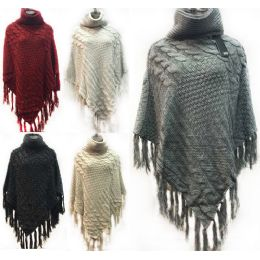 12 Units of Knitted Poncho Solid Color Fringe Bottom Neck Cover - Winter Pashminas and Ponchos