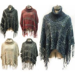 12 Units of Knitted Poncho Sweater Turtle Neck Fringes - Winter Pashminas and Ponchos