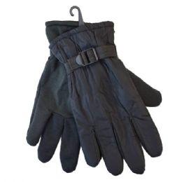 36 Bulk Winter Men Ski Gloves Black With Adjustable Strap