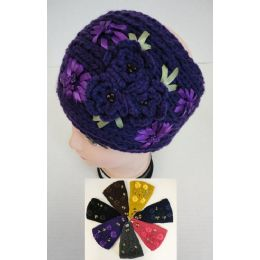 48 Units of Wide Hand Knitted Ear Band [3 Flowers] - Ear Warmers