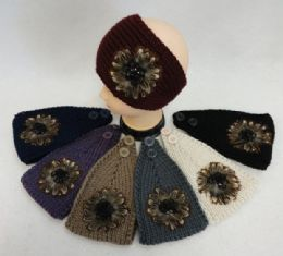 48 Units of Wide Hand Knitted Ear Band [feathers & Beads] - Ear Warmers