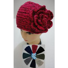 48 Units of Wider Hand Knitted Ear Band W/flower [metallic Accent] - Ear Warmers