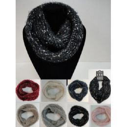48 Units of Metallic Knitted Infinity Scarf - Winter Scarves
