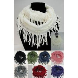 48 Units of Fringe/loose Knit Knitted Infinity Scarf - Winter Scarves