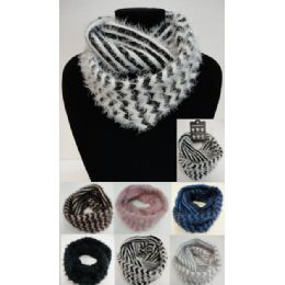 48 Units of Shaggy Chevron Knitted Infinity Scarf - Winter Scarves